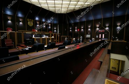 An empty dock is pictured during court proceedings in the High Court where former President Jacob Zuma, who was not present, faces charges that include fraud, corruption and racketeering, in Pietermaritzburg, South Africa, 08 December 2020. The trial has been postponed until February 2021.