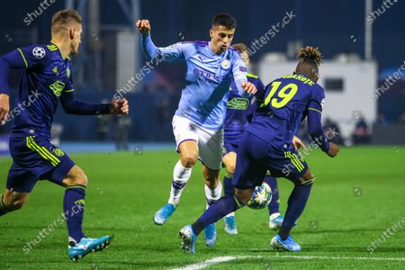 Dinamo Zagreb vs Manchester City, UEFA Champions League, Group C, Football, Stadion Maksimir, Croatia. Joao Cancelo and Jacques Francois Moubandje in action.