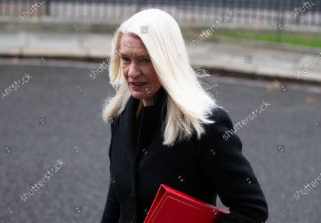 Amanda Milling, Minister without Portfolio and Co-Chair of the Conservative Party, arrives for the Cabinet meeting.