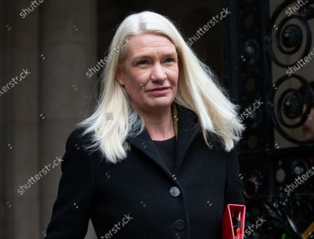 Amanda Milling, Minister without Portfolio and Co-Chair of the Conservative Party, leaves the Cabinet meeting.