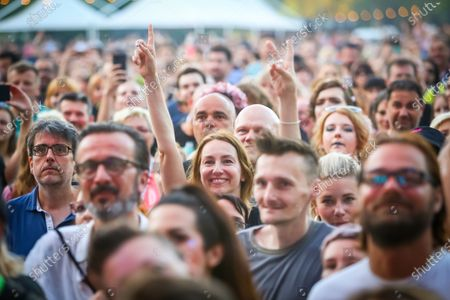 Audience during concert of Laura Pergolizzi known as LP on the 14th INmusic festival located on the lake Jarun in Zagreb, Croatia.