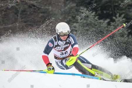 Laurie Taylor from United Kingdom competes during the Audi FIS Alpine Ski World Cup Mens Slalom, Snow Queen Trophy 2019 in Zagreb, Croatia.