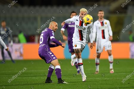 "Borja Valero (Fiorentina)Valon Behrami (Genoa)           during the Italian ""Serie A"" match between Fiorentina 1-1 Genoa  at  Artemio Franchi Stadium in Florence, Italy."