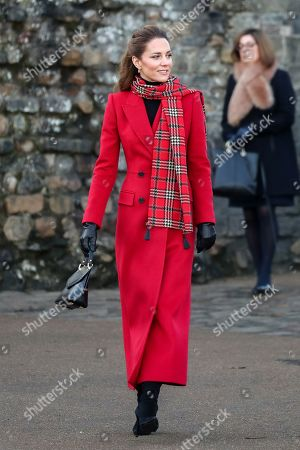 Catherine Duchess of Cambridge arrives at Cardiff Castle.
