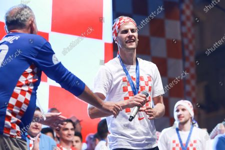 Croatia National Football Team welcome home celebration - Ivan Strinic celebrating on the stage on Ban Jelacic Square.