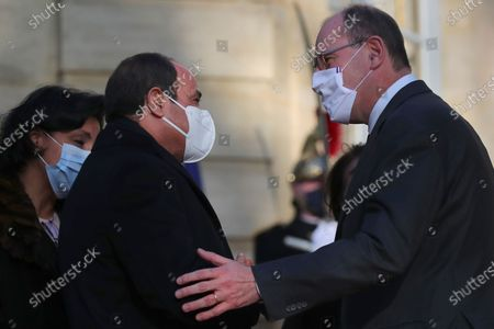 "French Prime Minister Jean Castex, right, greets Egyptian President Abdel-Fattah el-Sissi after to their talks in Paris, Tuesday, Dec.8, 2020. French President Emmanuel Macron acknowledged Monday ""disagreements"" with Egyptian President Abdel-Fattah el-Sissi over human rights, but said it will not prevent France from reaching economic and defense deals with the North African country, which has seen the heaviest crackdown on dissent in its modern history"