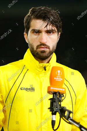 Karim Ansarifard of AEK Athens is interviewed for TV during the AEK Athens pre-match training session; King Power Stadium, Leicester, Midlands, England; UEFA Europa League, Leicester City versus AEK Athens.