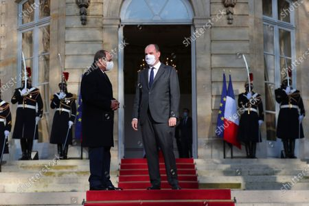 French Prime Minister Jean Castex (R) welcomes Egyptian President Abdel-Fattah el-Sissi (L) prior to their talks in Paris, France, 08 December 2020. French President Emmanuel Macron acknowledged on 07 December, 'disagreements' with Egyptian President Abdel-Fattah el-Sissi over human rights, but said it will not prevent France from reaching economic and defense deals with the North African country, which has seen the heaviest crackdown on dissent in its modern history.