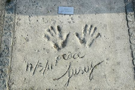 A view of Cat Stevens handprints and signature in concrete at the Munich Olympic Walk Of Stars in Olympic Park in Munich, Germany.