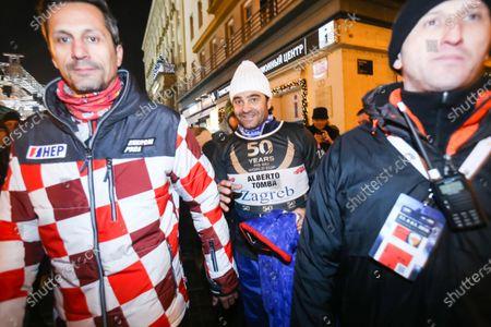 Ski race of overall winners of the FIS World Cup on the ski slope in Bakaceva street. Alberto Tomba leaving the ski race.