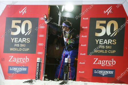Ski race of overall winners of the FIS World Cup on the ski slope in Bakaceva street, on the road from the cathedral to the main square. Alberto Tomba at the start.