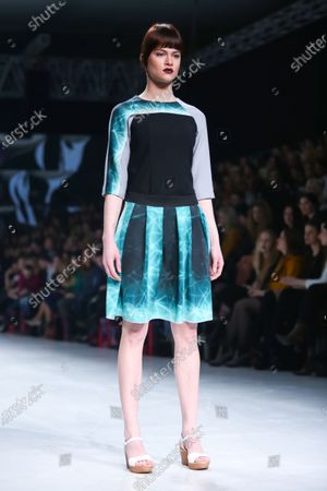 Model wearing clothes designed by Hedra Design on the Bipa Fashion.hr fashion show in Zagreb,Croatia.HEDRA Design is a clothing and accessories fashion brand by Ana Jagic.