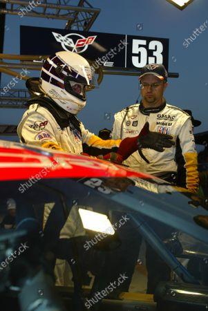 2003 Le mans 24 Hours Le Mans, France. 11th June 2003 Corvette GTS Team's Johnny O'Connel prepares. World Copyright: Mike Weston/LAT Photographic