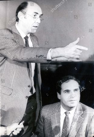 Lord Leon Brittan Leon Brittan Under The Protective Arm Of His Constituency Chairman Alan Kitching During Hectic Press Conference At Thirsk Baron Brittan Of Spennithorne ...politicians
