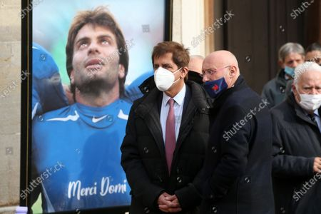 Stock Photo of Max Guazzini and Bernard Laporte. Funeral service of former French rugby international Christophe Dominici held at Saint-Louis Church in Hyeres