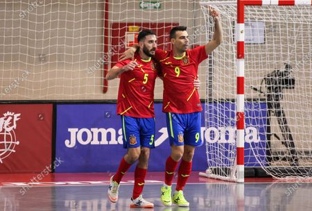 Raul Gomez of Spain and Sergio Lozano of Spain celebrate a goal during Eurocup qualification futsal match played between Spain and Latvia at Ciudad del Futbol on December 08, 2020 in Las Rozas, Madrid, Spain.