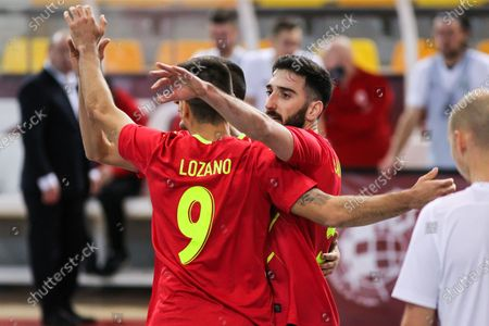 Jesus Herrero of Spain, Carlos Ortiz of Spain and Raul Gomez of Spain celebrate a goal during Eurocup qualification futsal match played between Spain and Latvia at Ciudad del Futbol on December 08, 2020 in Las Rozas, Madrid, Spain.