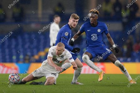 Timo Werner of Chelsea and Igor Smolnikov of FC Krasnodar in action during UEFA Champions League group stage match between Chelsea and FC Krasnodar at The Hive in London, UK - 8th December 2020