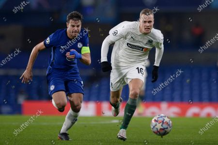 Cesar Azpilicueta of Chelsea and Viktor Claesson of FC Krasnodar in action during UEFA Champions League group stage match between Chelsea and FC Krasnodar at The Hive in London, UK - 8th December 2020