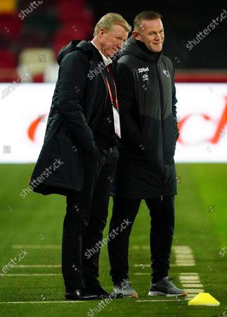 Derby County Interim Manager Wayne Rooney alongside Steve McClaren