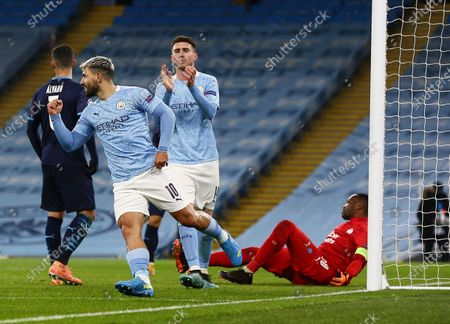 Sergio Aguero of Manchester City celebrates scoring a goal to make it 2-0