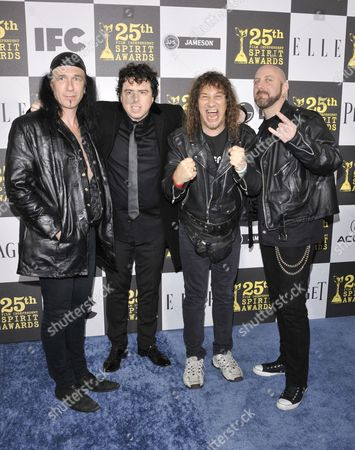 Robb Reiner, Steve Kudlow and Glenn Five of Anvil with director Sacha Gervasi (second left)