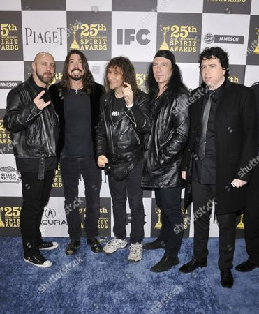 Dave Grohl (second left) with Robb Reiner, Steve Kudlow and Glenn Five of Anvil and director Sacha Gervasi (right)