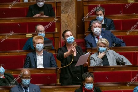 Stock Picture of Adrien Quatennens and Mathilde Panot during the weekly session of questions to the government at the French National Assembly.