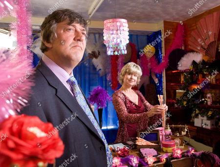 Pictured: Peter Kingdom (Stephen Fry) and Olivia Godfrey (Issy Van Randwyck)
