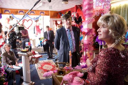 Behind the scenes Filming Pictured: Peter Kingdom (Stephen Fry), Lyle Anderson (Karl Davis) and Olivia Godfrey (Issy Van Randwyck)