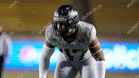 Stock Photo of Oregon linebacker Mase Funa against California during of an NCAA college football game in Berkeley, Calif