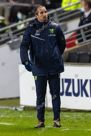 Stock Photo of Norwich City under 21's Coach David Wright during the EFL Trophy match between Milton Keynes Dons and U21 Norwich City at stadium mk, Milton Keynes