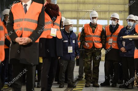 French President Emmanuel Macron visits with  French Armies Chief of Staff General Francois Lecointre the French nuclear reactor manufacturer Framatome production