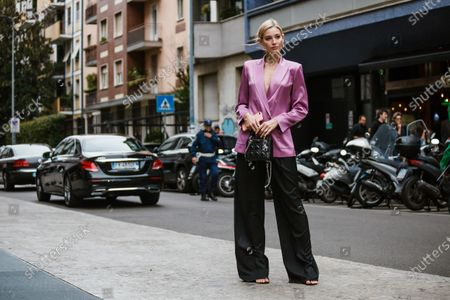 Mandy Bork wearing complete Max Mara look, outside Max Mara show during Milan Fashion Week Womenswear Spring Summer 2020