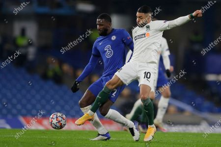Antonio Ruediger of Chelsea FC (L) and Wanderson of FC Krasnodar (R) in action during the UEFA Champions League group E soccer match between Chelsea FC and FC Krasnodar in London, Britain, 08 December 2020.