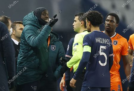 Stock Photo of Player Demba Ba (C) of Basaksehir reacts during the UEFA Champions League group H soccer match between Paris Saint-Germain (PSG) and Istanbul Basaksehir in Paris, France, 08 December 2020.