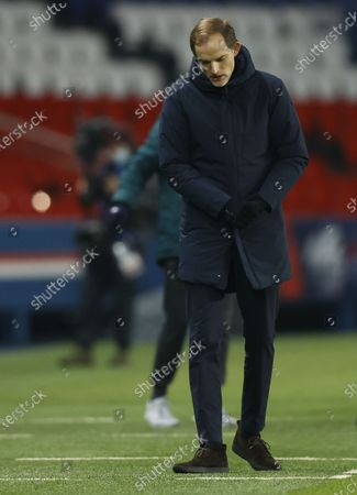 Stock Photo of PSG head coach Thomas Tuchel reacts during the UEFA Champions League group H soccer match between Paris Saint-Germain (PSG) and Istanbul Basaksehir in Paris, France, 08 December 2020.