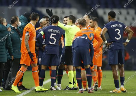 Stock Image of Player Demba Ba (C) of Basaksehir reacts during the UEFA Champions League group H soccer match between Paris Saint-Germain (PSG) and Istanbul Basaksehir in Paris, France, 08 December 2020.