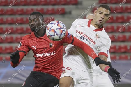 Rennes' M'Baye Niang, left, fights for the ball with Sevilla's Diego Carlos during the Champions League, group E soccer match between Rennes and Sevilla at the Roazhon Park stadium in Rennes, France