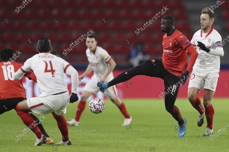 Rennes' M'Baye Niang controls the ball during the Champions League, group E soccer match between Rennes and Sevilla at the Roazhon Park stadium in Rennes, France