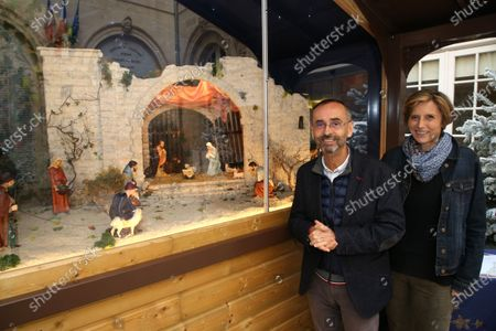 Editorial picture of Robert Menard and Emmanuelle Menard and the new Christmas nativity, Beziers, France - 08 Dec 2020