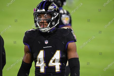 Baltimore Ravens cornerback Marlon Humphrey (44) looks on before an NFL football game against the Dallas Cowboys, in Baltimore