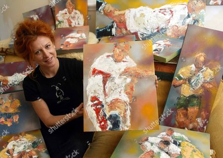 Artist Sarah Sanderson Pictured With Her Rugby World Cup Paintings.