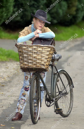 Lady Henrietta Bathurst Fashion Designer Daughter Of Earl Bathurst With A Bicycle She Found On Her Parents' Cirencester Park Estate.