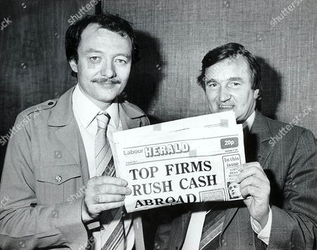 Ken Livingstone with 'Red' Ted Knight (former Lambeth Council Leader) holding a copy of the Labour Herald
