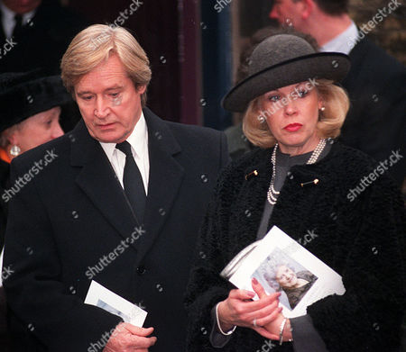 Editorial image of Funeral Of Coronation Street Actress Jill Summers Who Played Phyllis Pearce. Actor Bill Roach And Wife Leave The Chapel After The Service..