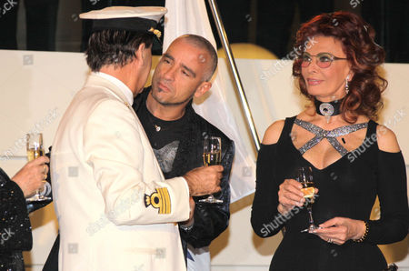 Stock Photo of Giuliani Bossi, Eros Ramazotti, Sophia Loren