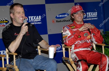 15-17 April, Texas Motor Speedway, Texas, USA, 2005 Jeremy Mayfield and Kasey Kane meet the press after earning 2cnd and 3rd in qualifying  World Copyright-Robt LeSieur 2005 USA