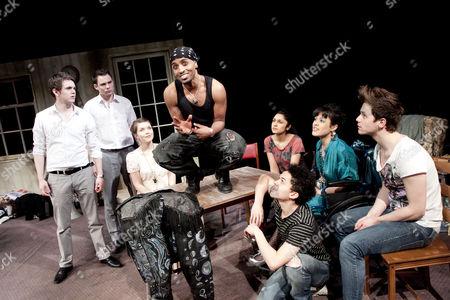 'Moonfleece' -  Sean Verey (Curtis), Bradley Taylor (Tommy), Emily Plumtree (Sarah), Beru Tessema (Zak), (kneeling) Reece Noi (Link), Krupa Pattani (Alex), Sian Robins-Grace (Nina), David Ames (Jez)