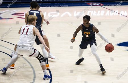 Stock Image of Moraga, CA U.S.A. UTEP Miners guard Keonte Kennedy #3 brings the ball up court during the NCAA Men's Basketball game between UTEP Miners and the Saint Mary's Gaels 61-73 lost at McKeon Pavilion Moraga Calif. Thurman James / CSM